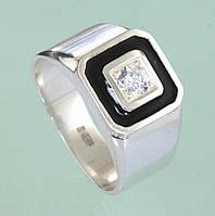 Срібний перстень з емаллю та цирконом
