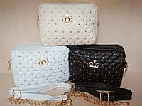 """Стильная женская сумка клатч """"корона"""" 3 цвета черная, бежевая, белая."""