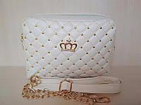 """Стильная женская сумка клатч """"Корона"""" бежевая"""