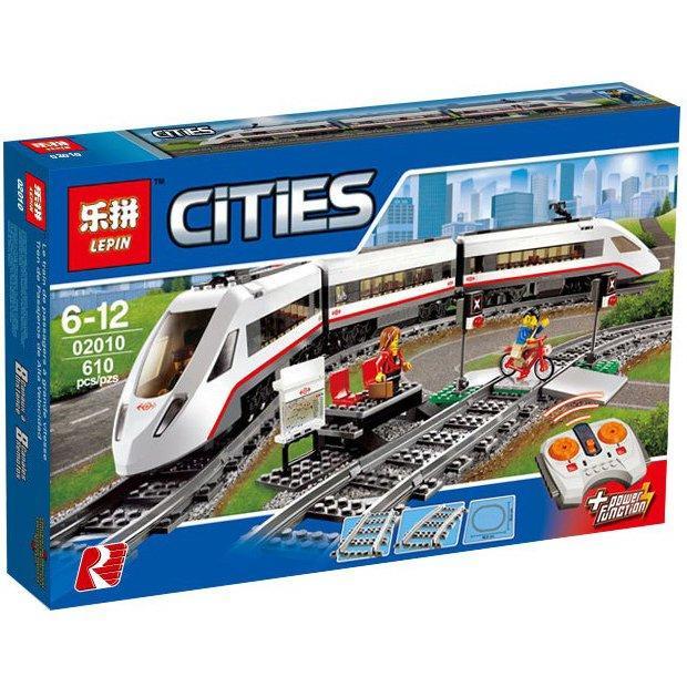 Конструктор Lepin 02010 аналог Lego Train 60051 Скоростной пассажирский поезд, 610 дет на р\у