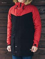 Зимняя мужская куртка парка Staff Dark black and red