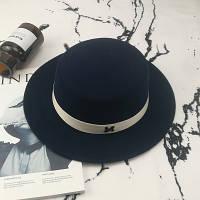 Шляпа женская фетровая канотье в стиле Maison Michel темно синяя