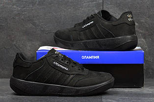 Чоловічі кросівки Московський Адідас,Олімпія чорні,нубук