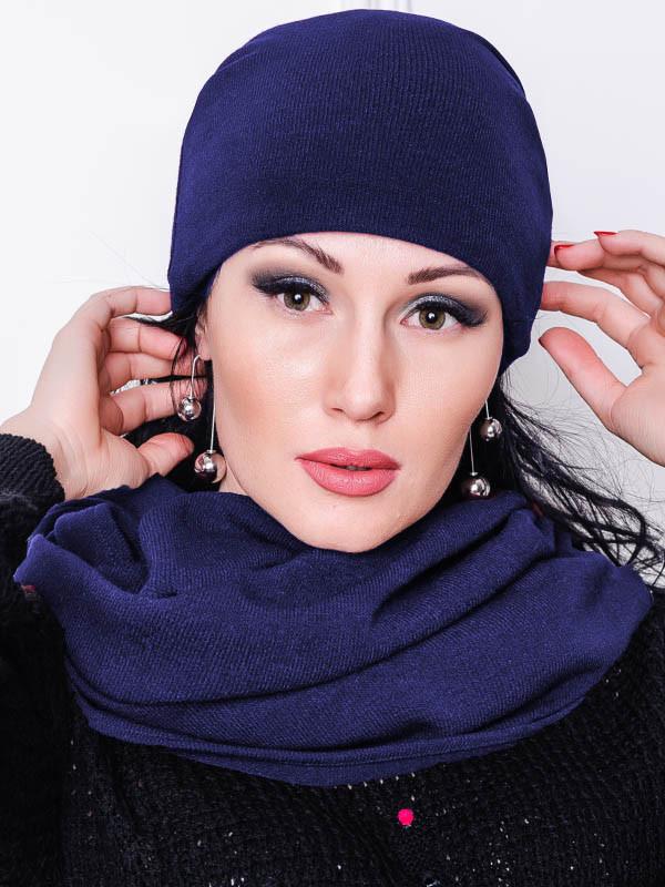 Темно-синяя шапка АНГОРА