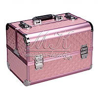 """Профессиональный алюминиевый кейс для косметики """"Exclusive Series Diamonds""""  розовый ромбик"""