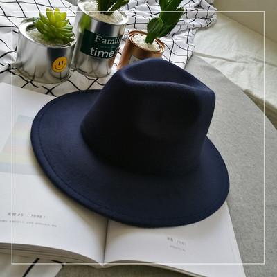 Шляпа женская фетровая Федора с устойчивыми полями темно синяя