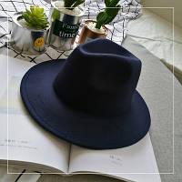 Шляпа женская фетровая Федора с устойчивыми полями темно синяя, фото 1