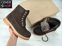 Женские ботинки Timberland - brown, материал - нубук, утеплитель - натуральный мех