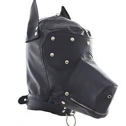 Черная БДСМ маска в форме собаки