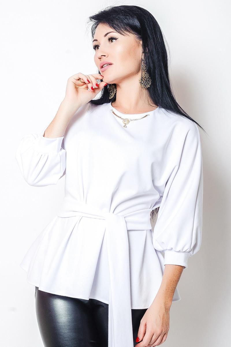 Белая трикотажная блузка Янтарь