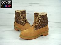 Ботинки женские Timberland, леопардовые, материал - нубук, утеплитель - натуральный мех