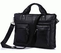 Черный мужской портфель из натуральной кожи