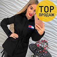 Женская куртка черного цвета / Женская короткая куртка, стильная, красивая, 2018