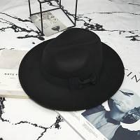 Шляпа женская фетровая Федора с устойчивыми полями и бантиком черная