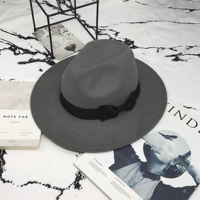 Шляпа женская фетровая Федора с устойчивыми полями и бантиком серая
