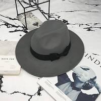 Шляпа женская фетровая Федора с устойчивыми полями и бантиком серая, фото 1