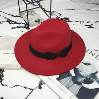 Шляпа женская фетровая Федора с устойчивыми полями и бантиком красная