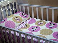 """Комплект сменного постельного в детскую кроватку, польский хлопок """"Совы"""""""