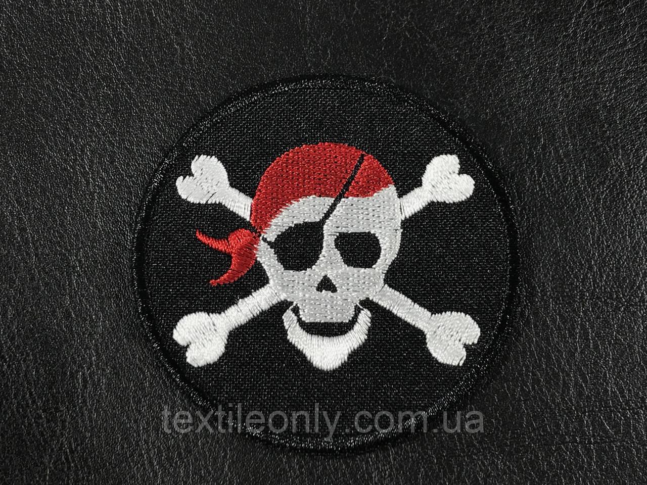 Нашивка череп пират 70 мм