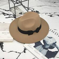 Шляпа женская фетровая Федора с устойчивыми полями и бантиком бежевая