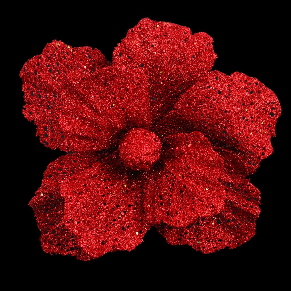 Пуансеттия 20 см с клипом, красная (тип 2)
