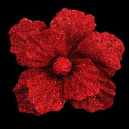 Пуансеттия 20 см с клипом, красная (тип 2), фото 2