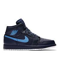 Оригинальные кроссовки NIKE AIR JORDAN 1 MID DARK BLUE / LIGHT BLUE