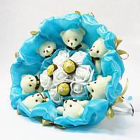Букет из игрушек Мишки 7 с Фереро Роше бирюзовый, фото 1