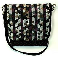 Женская джинсовая сумочка Цветные треугольники, фото 1