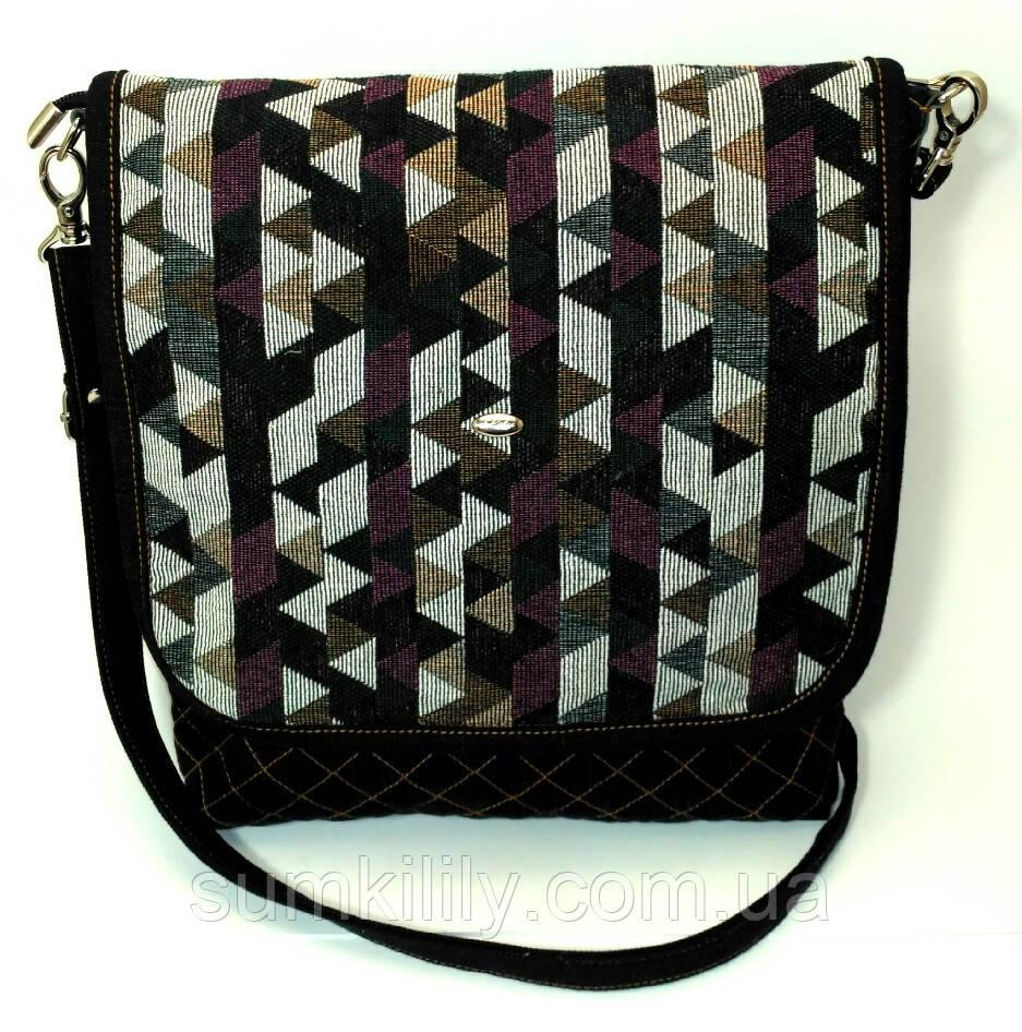Женская джинсовая сумочка Цветные треугольники