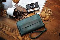 Кожаный кошелек-клатч Манхеттен | Зеленый Винтаж