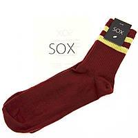 Подарочные носки мужские бордовые с хакки -полосками