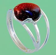 Срібний перстень з авантюрином