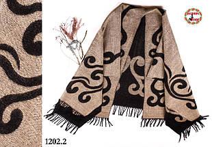Бежевое стильное шерстяное пончо-плед  Пафос, фото 3