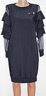 Платье женское, рукав с рюшами, синее, Турция