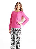 Яркая женская хлопковая пижама. Цвет:розовый, бирюзовый. рр. S-2XL.