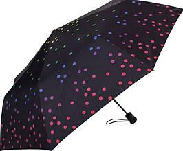 Роскошный женский зонт полуавтомат HAPPY RAIN U42278-3, цвет - черный. Антиветер!