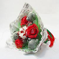 Букет из игрушек Мишки 3 серые с Раффаэлло Крафт
