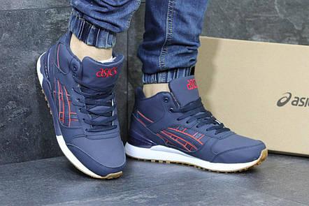 Высокие кроссовки Asics GEL LYTE III кожаные,темно синие, фото 2