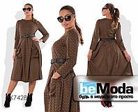 Оригинальное женское платье больших размеров с милым принтом и пояском в комплекте коричневое