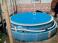Бассейн пластиковый - купель для сауны, бани круглая D 2,0 м h - 1,5 м