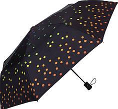 Шикарный женский зонт полуавтомат HAPPY RAIN U42278-4, цвет - черный. Антиветер!