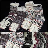 Зимние женские носочки на искусственном меху, стопперы, разные расцветки, 35-38 р-ры, 205/143
