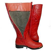Красные кожаные зимние сапоги 40 размер купить