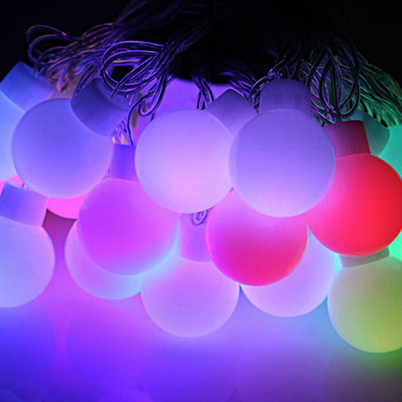 """Гирлянда светодиодная """"Шарики"""" крупные 6 метров, 20 ламп"""