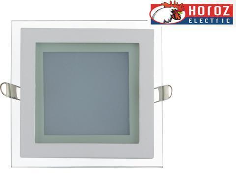 Светодиодный встраиваемый квадратный светильник стекло 12W 4200K Maria-12 Horoz Electric HL685LG