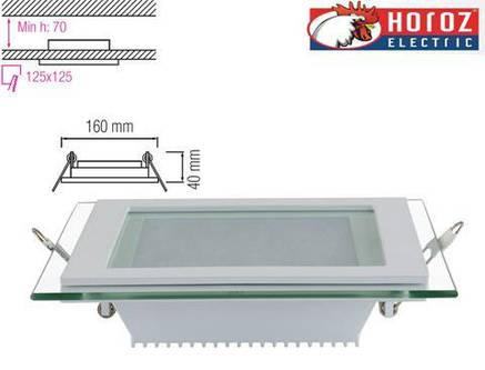 Светодиодный встраиваемый квадратный светильник стекло 12W 4200K Maria-12 Horoz Electric HL685LG, фото 2