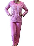 Теплая пижама с начесом женская зимняя домашняя хлопковая комплекткофта и штаны