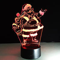 3D Светильник, 3D Ночник, 3D лампа «Санта Клаус»