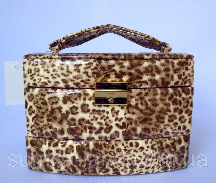 Шкатулка женская для ювелирных украшений и бижутерии 18*13*15 см леопард бежевая